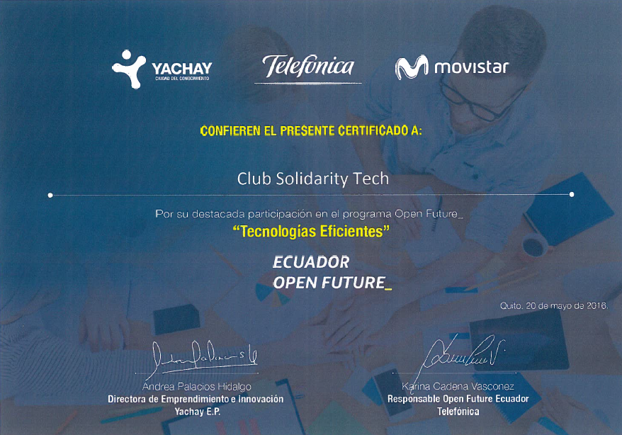 «Club Solidarity Tech» semifinalista en covocatoria de Tecnologías Eficientes